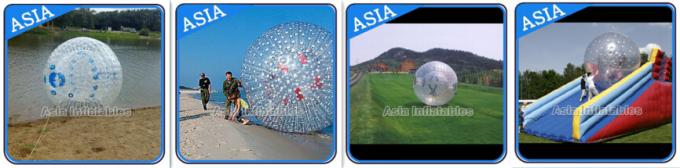 1.0mm PVC Used Land Zorbing Ball, Grass Zorb Ball With Color Strips
