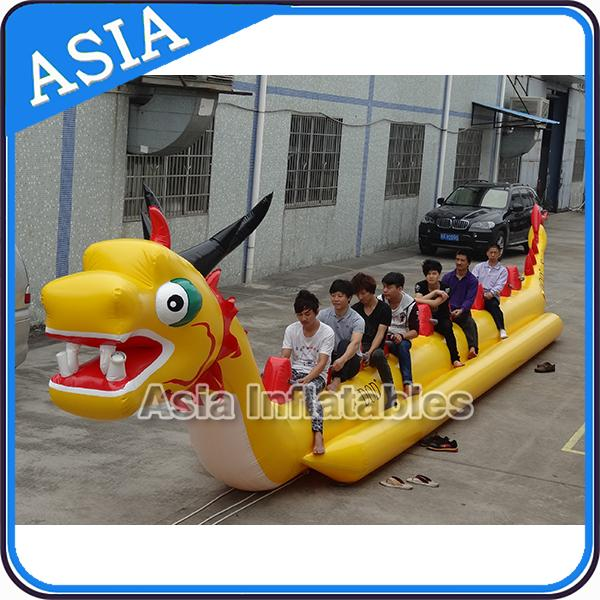 Yellow Dragon Banana Shaped Inflatable Boats 12 Person Water Sport Games For Adult