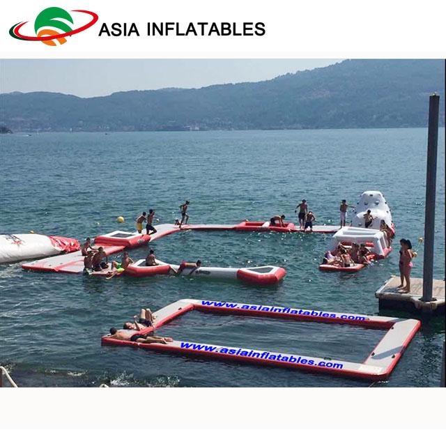 Exciting Fireproof Inflatable Floating Island Water Park Game For Adults