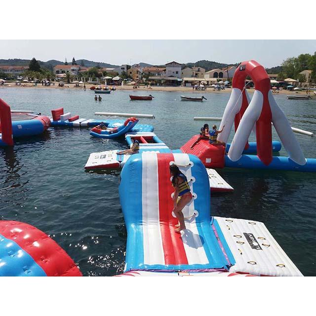 Red and Blue Inflatable Aqua Park , 0.9mm PVC Tarpaulin Inflatable Sports Park