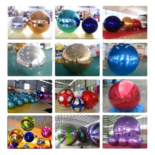 Advertising Mirror Helium Balloon And Silver Mirror Ball Inflatable For Party