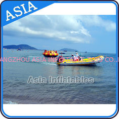 Cina Sealed 3m Inflatable Floating Spin Water Disco Boat For 8 Person Blue / Yellow pabrik