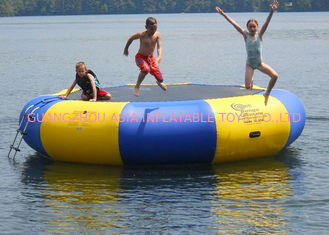 Cina 4m bule and yellow water trampoline, inflatable water games trampoline pabrik