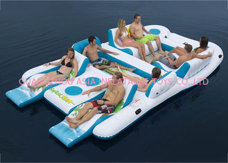 Cina Party Inflatable Floating Island For Beach Vacation , Inflatable Lounge For Lake pabrik