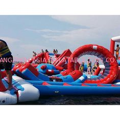 Cina Red and Blue Inflatable Aqua Park , 0.9mm PVC Tarpaulin Inflatable Sports Park pabrik