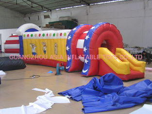 Cina Inflatable Train Tunnel , Inflatable Chidlren Park Amusement Games pabrik