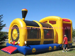 Cina Hot Sale Inflatable Amusement Park, Inflatable Yellow Train Tunnel pabrik