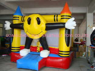 Cina 3m Yellow Inflatable Amusement Park With Smileface Mini Bouncer pabrik