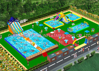 OEM On Land Inflatable Air Playground / Aqua Slide Park Garansi 3 Tahun
