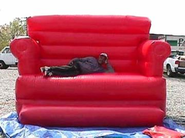 Cina Red Durable Pvc Tarpaulin Inflatable Sofa Air Bed Furniture , Inflatable Couch Furniture pabrik