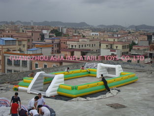 Cina Newest And Hottest Inflatable Football Sport Field For Rental , Inflatable Soccer Field pabrik