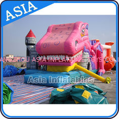 Cina Lovely Inflatable Pink Snappy Dragon Bouncy Castle For Backyard Games pabrik