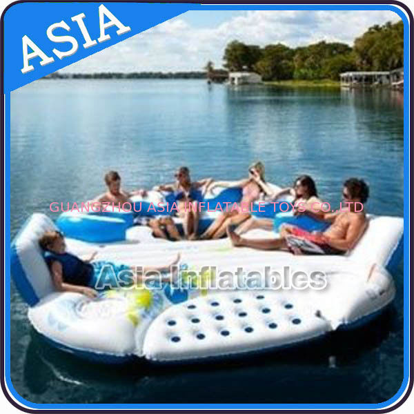 0.9mm Durable PVC Tarpaulin Inflatable Island Floating Lounge pemasok