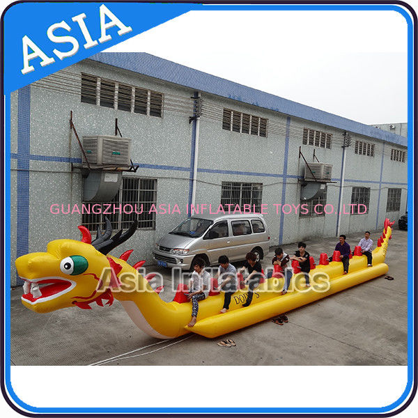 Yellow Dragon Banana Shaped Inflatable Boats 12 Person Water Sport Games For Adult pemasok