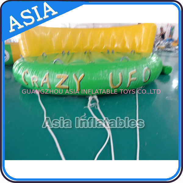 5 Person Water Ski Tube Inflatable Boats Crazy UFO Shaped 0.9mm PVC Tarpaulin pemasok