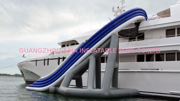 PVC floating Inflatable Water Sports , Curved Yacht Slide Waterproof pemasok