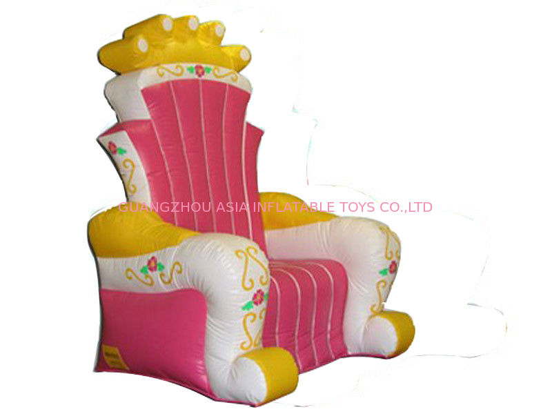 Hot Melding Pink 0.9mm Pvc Tarpaulin Inflatable  King Chair Sofa For Advertising pemasok