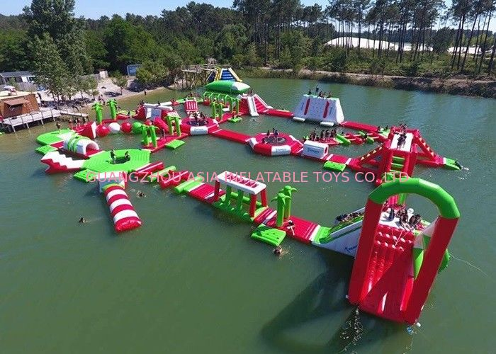 Red and Green Moving Inflatable Aqua Water Park For Sea Or lake pemasok
