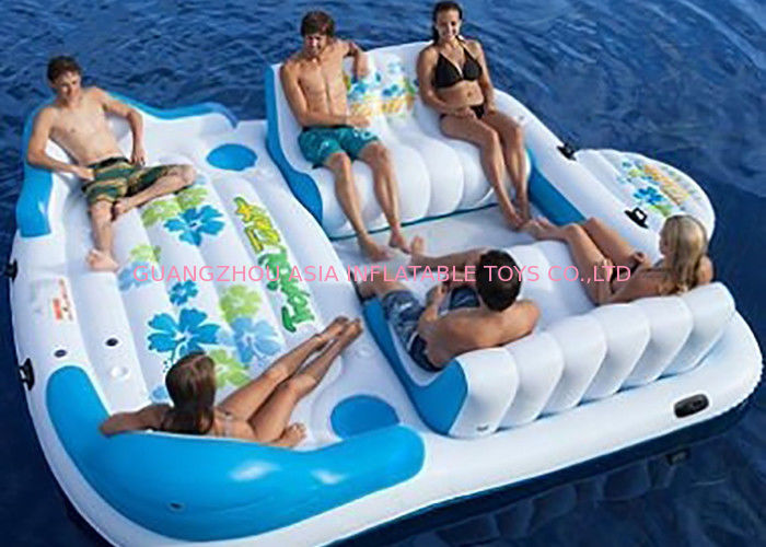 Large Inflatable Floating Island , Inflatable Lounge Water Floating Games For Leisure pemasok