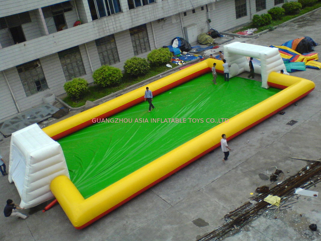 Yellow With Blue Inflatable Soap Soccer Field For Commercial Use pemasok