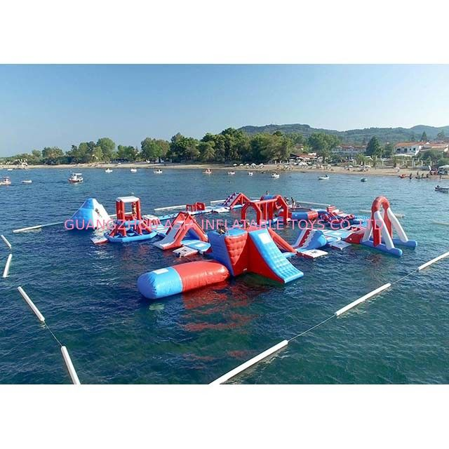 Red and Blue Inflatable Aqua Park , 0.9mm PVC Tarpaulin Inflatable Sports Park pemasok