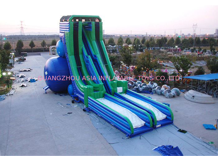 Green And Blue  Dry and Wet Slides , Inflatable Drop Kick Slide With Double Lanes For Resort And Event pemasok