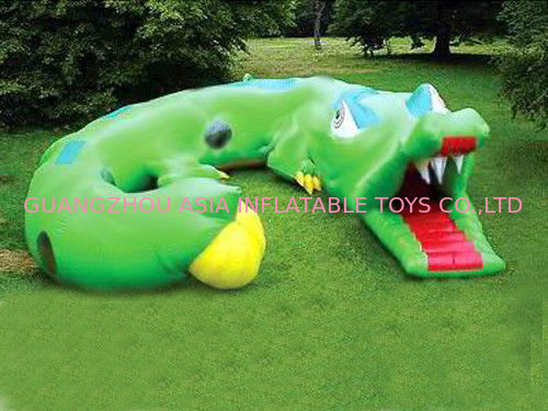 Inflatable Cartoon Tunnel Maze, Green Cayman Tunnel Design pemasok