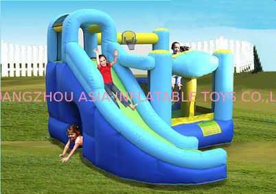 PVC Tarpaulin Inflatable Amusement Park , Blue / Red Mini Bouncer With Slide pemasok