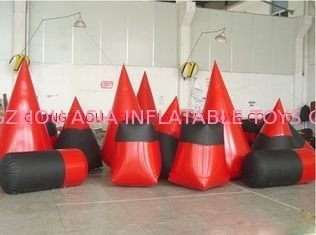 Red 0.6mm Pvc Tarpaulin Inflatable Paintball Bunker For Paintball Sports pemasok