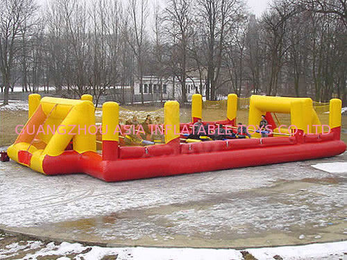 Child Play Pvc Tarpaulin Inflatable Soccer Field / Sports Games Football Land Oem pemasok