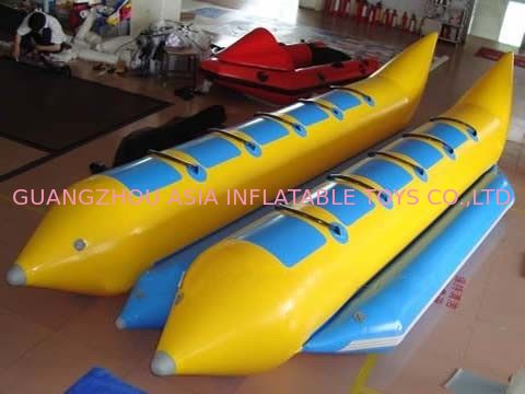 10 Seats Double Banana Boat Inflatable Water Games With 0.9mm Pvc Tarpaulin pemasok