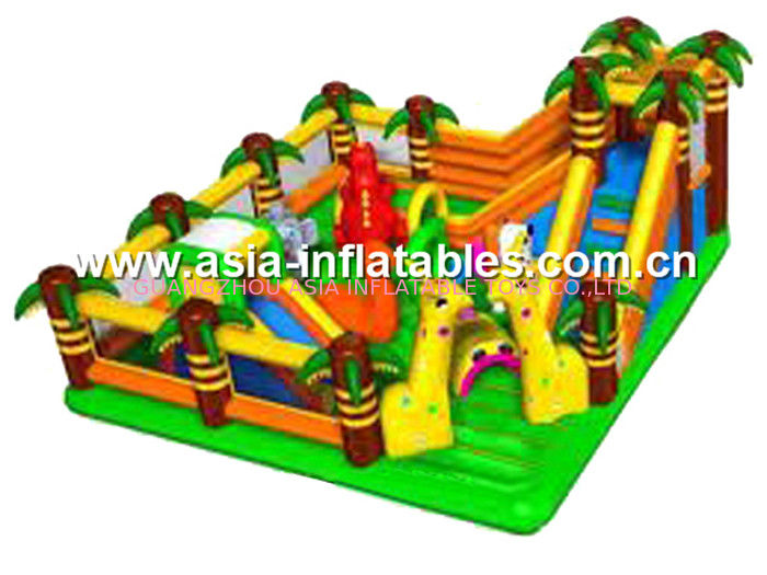 Inflatable Funland With Obstacle Course For Outdoor Chilren Playground Games