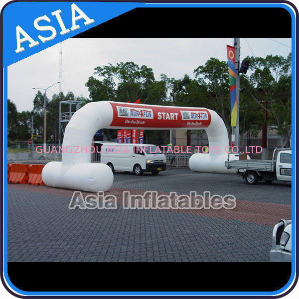 White Color Inflatable Start Line Arch With Removable Banner For Rental pemasok