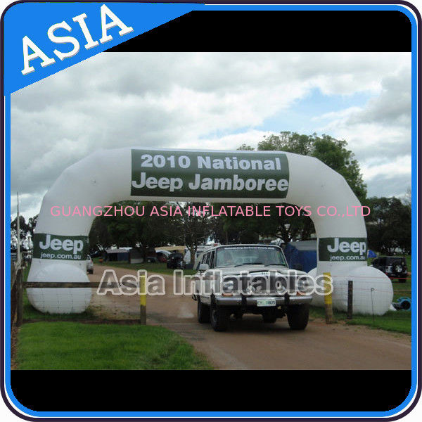 2 Legs Inflatable Archway In White Color With Removable Banner For Car Show pemasok
