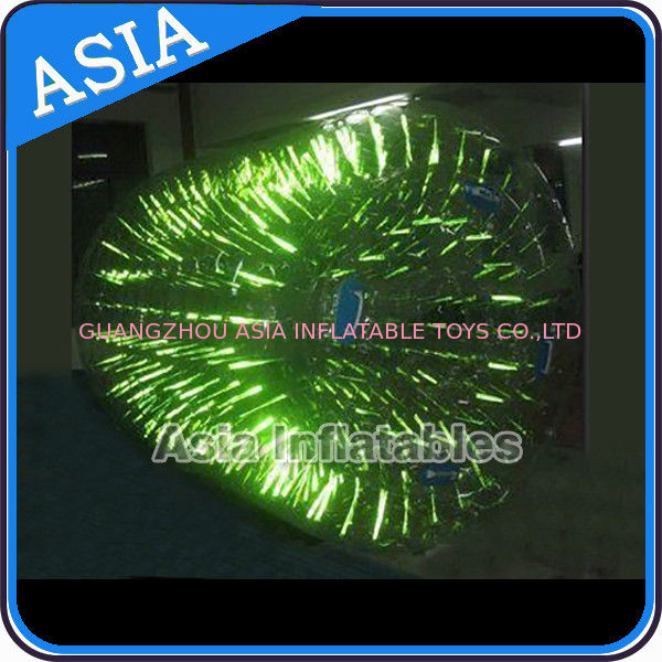 2015 colorful luminous inflatable water roller with shiny light pemasok